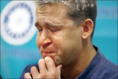 "Bret Boone couldn't hold back the tears as he spoke with reporters after being designated for assignment. ""The fans here have embraced me like nowhere else,"" he said. Boone Gallery: Some highs and lows Photo: Meryl Schenker/Seattle Post-Intelligencer"